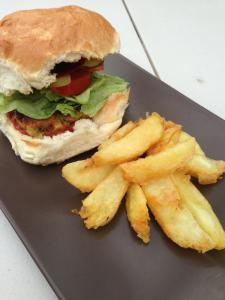 Emmas Veggie Burger with triple cooked chips. Veggie burger recipe to come soon!